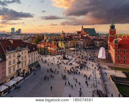 Royal castle and old town square at sunset in Poland Europe