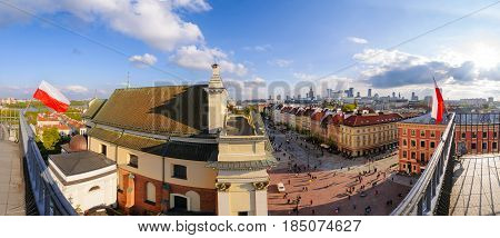 View on Warsaw old and modern town. Poland. Europe.