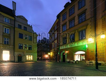 Architecture in the main square rynek in Warsaw Poland.
