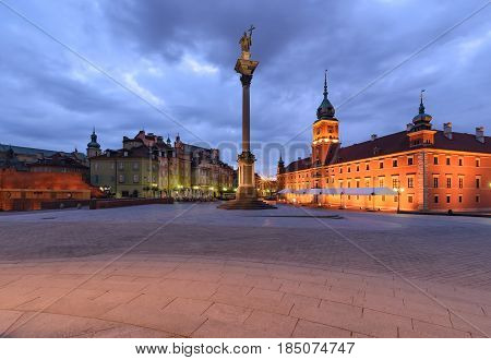 Old City of Warsaw in Poland in the morning. Old Town Royal Castle.