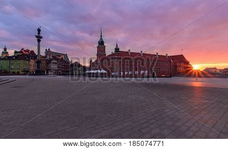 Royal castle and old town at sunrise Poland Europe