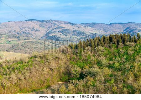 Amazing mediterranean natural landscape with hills and forest