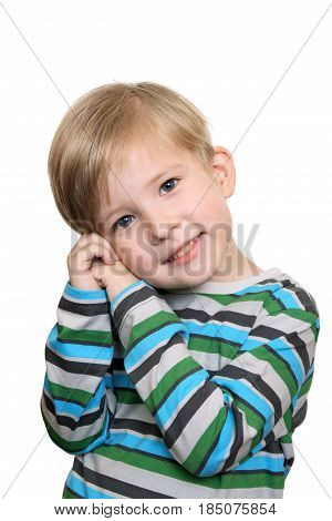 Cute little boy embarrassed isolated on white background