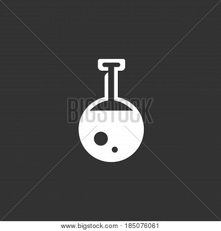 Flask icon in flat style isolated on black background. Chemical logo silhouette. Abstract sign symbol pictogram. Vector illustration