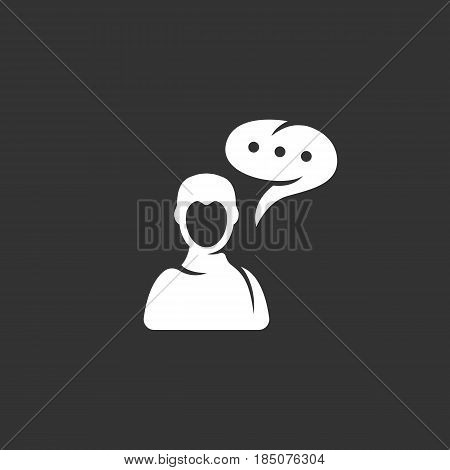 Talk icon in flat style isolated on black background. Speak logo silhouette. Abstract sign symbol pictogram. Vector illustration