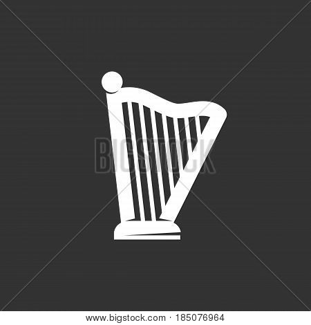 Harp icon in flat style isolated on black background. Lyre logo silhouette. Abstract sign symbol pictogram. Vector illustration