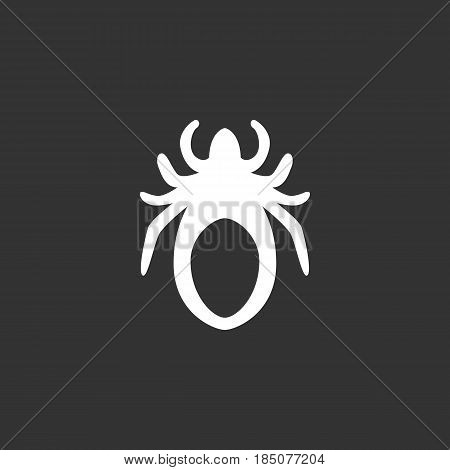 Mite icon in flat style isolated on black background. Acarus logo silhouette. Abstract sign symbol pictogram. Vector illustration