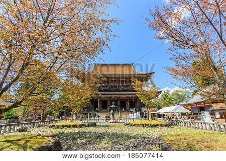 NARA, JAPAN - APRIL 17, 2015: Kinpusenji Temple in Yoshinoyama and surrounding scenery of Yoshino Nara Japan on April 17 2015. Yoshino is a famous for tourist attraction.