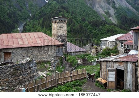 Adishi village buildings in Caucasus mountains Georgia