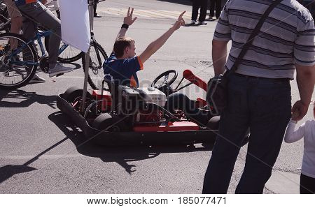 Kursk, Russia - May 1, 2017: Kart crossing the finish line