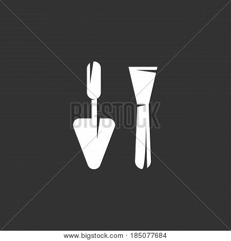 Trowel icon in flat style isolated on black background. Plastering equipment logo silhouette. Abstract sign symbol pictogram. Vector illustration