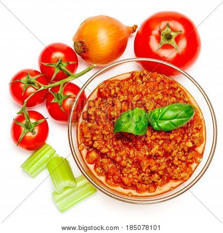 Spaghetti bolognese sauce in glass pot on white background