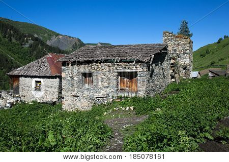 Adishi village in Caucasus mountains in Georgia