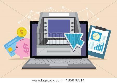 mobile banking online transaction with laptop illustration vector design concept