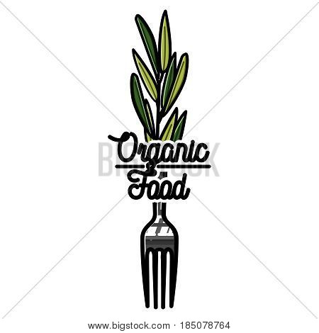 Color vintage organic food emblem, label, badge and design elements. Vector illustration, EPS 10