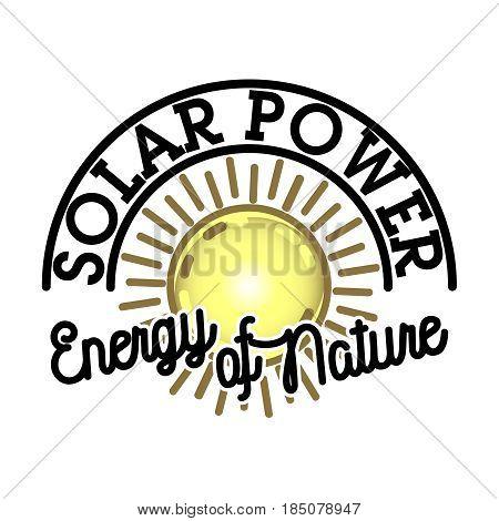 Color vintage solar panels emblem. Concept of renewable solar energy