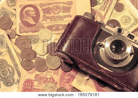 Old Money Of The Soviet Union And A Vintage Camera