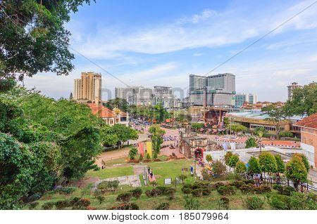 MALACCA, MALAYSIA - AUGUST 12, 2016: View of Malacca city from St. Paul's Church. Malacca City is the capital city of the Malaysian state of Malacca and listed a UNESCO World Heritage Site on 7 July 2008