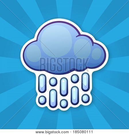 Vector illustration. Cloud with rain. Weather symbol. Sticker in cartoon style with contour. For greeting cards, patches, prints for clothes, badges, posters, emblems