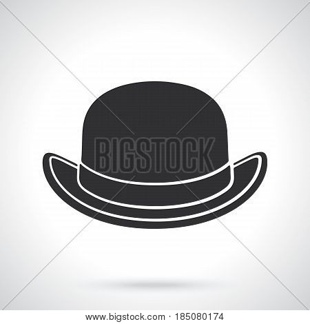 Vector illustration. Silhouette of retro bowler hat front view. Vintage elegant hat. Patterns elements for greeting cards, wallpapers