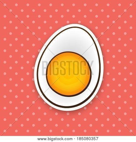 Vector illustration. half boiled egg. Healthy food. Cartoon sticker in comic style with contour. Decoration for greeting cards, posters, patches, prints for clothes, emblems