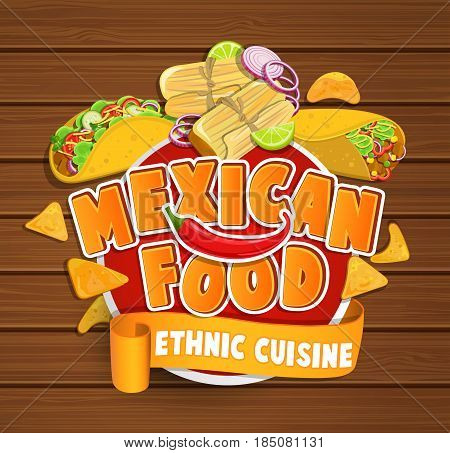 Mexican food logo, food label or sticker. Concept of ethnic cuisine mexican food, traditional product design for shops, markets.Vector illustration.