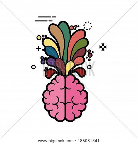 creative brain icon over white background. colorful desing. vector illustration
