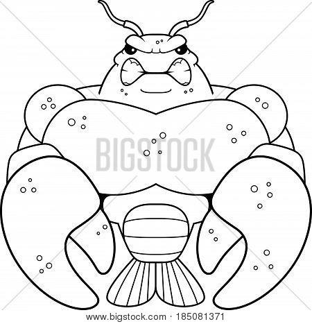 Angry Cartoon Muscular Crawfish