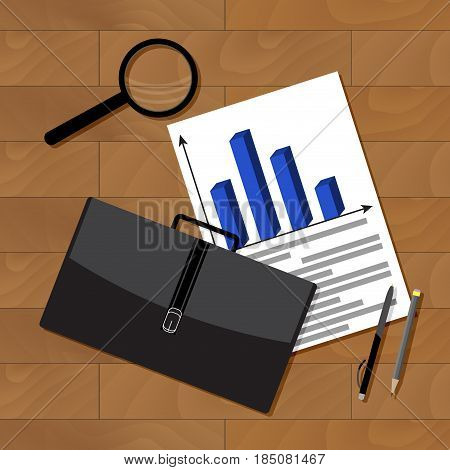 Business statistics top view. Statistics business concept business presentation chart vector illustration