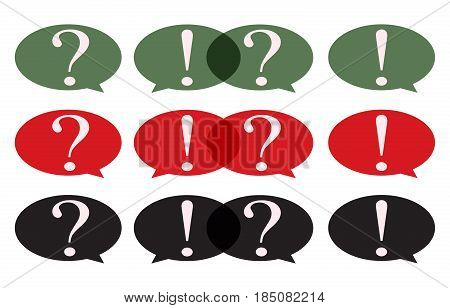 Speech Bubble with question mark and exclamation mark set.