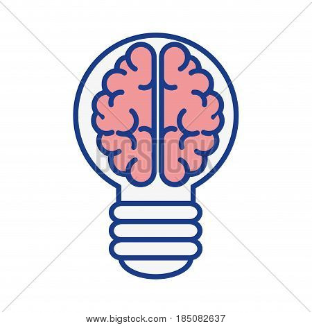brain bulb icon over white background. colorful desing. vector illustration