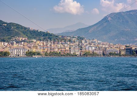 Colorful buildings in the city of Salerno seen from the sea Campania Italy