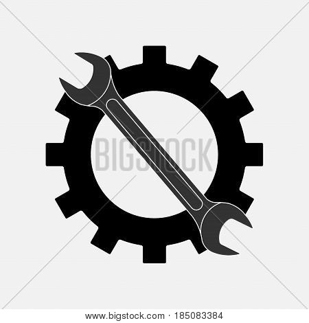 icon keys and gear, symbol service setting mechanism, fully editable vector image
