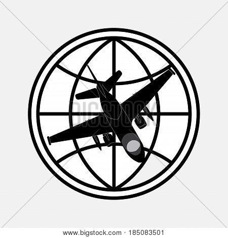 icon planet and plane, flights around the world, Journey, fully editable vector image