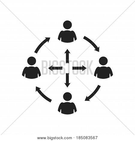 icon relationship, communication, friendship, information flows, fully editable vector image