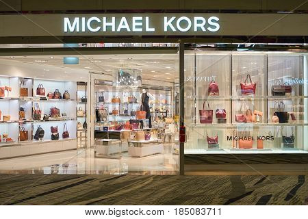 SINGAPORE - CIRCA SEPTEMBER, 2016: Michael Kors store at Singapore Changi Airport. Changi Airport is one of the largest transportation hubs in Southeast Asia.