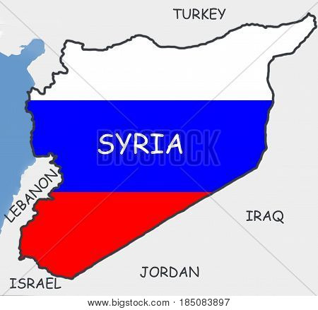 Contour map of Syria, painted in the colors of the flag of Russia