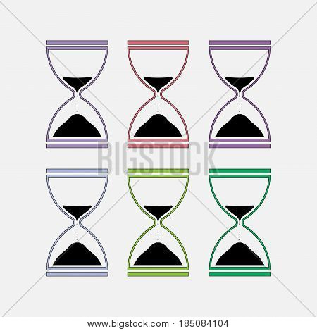 icons hourglass, time measurement, fully editable vector image