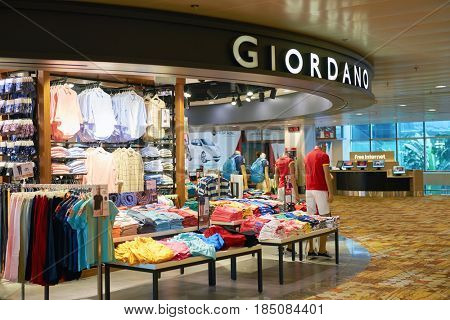 SINGAPORE - CIRCA SEPTEMBER, 2016: Giordano store at Singapore Changi Airport. Changi Airport is one of the largest transportation hubs in Southeast Asia.
