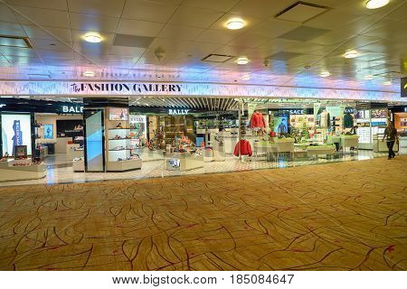 SINGAPORE - CIRCA AUGUST, 2016: The Fashion Gallery at Singapore Changi Airport. Changi Airport is one of the largest transportation hubs in Southeast Asia.