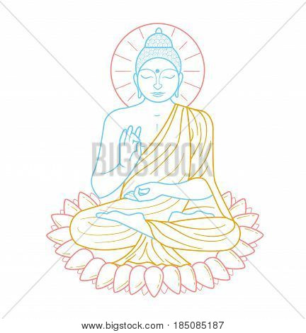 Icon - buddha purnima. Icon in the linear style