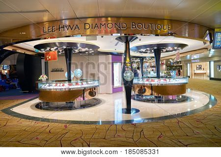 SINGAPORE - CIRCA AUGUST, 2016: Lee Hwa Diamond Boutique at Singapore Changi Airport. Changi Airport is one of the largest transportation hubs in Southeast Asia.