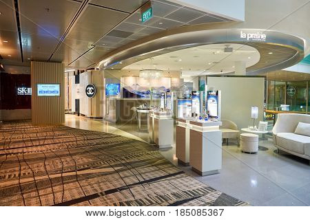 SINGAPORE - CIRCA AUGUST, 2016: La Prairie at at Singapore Changi Airport. Changi Airport is one of the largest transportation hubs in Southeast Asia.