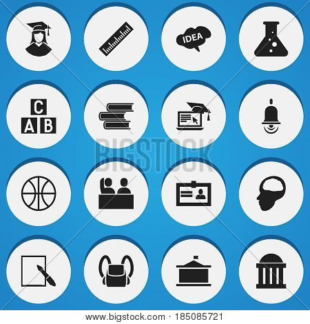 Set Of 16 Editable School Icons. Includes Symbols Such As Student, Straightedge, Schoolbag And More. Can Be Used For Web, Mobile, UI And Infographic Design.