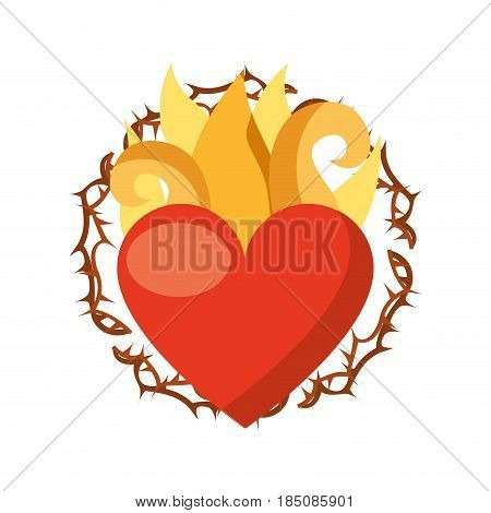 virgin mary heart with flames vector illustration design