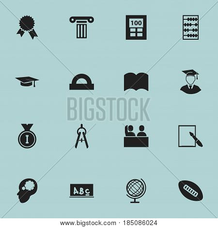 Set Of 16 Editable Graduation Icons. Includes Symbols Such As First Place, Calculator, Pillar And More. Can Be Used For Web, Mobile, UI And Infographic Design.