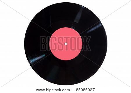 Vinyl disc with red label on white background