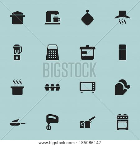 Set Of 16 Editable Food Icons. Includes Symbols Such As Cookware, Stove, Agitator And More. Can Be Used For Web, Mobile, UI And Infographic Design.