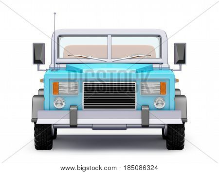 blue safari suv front view in retro cartoon style isolated on white. 3d illustration.