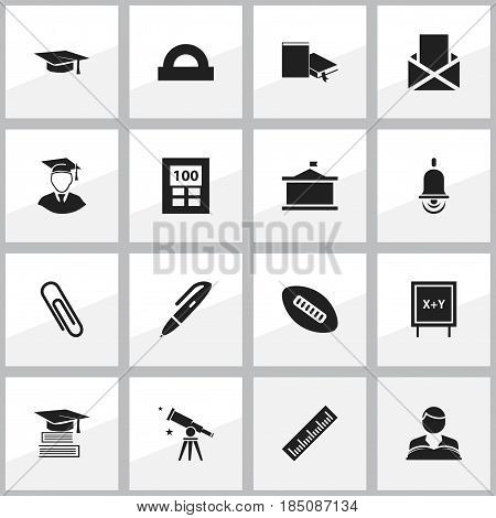 Set Of 16 Editable School Icons. Includes Symbols Such As Studying Boy, Oval Ball, Staple And More. Can Be Used For Web, Mobile, UI And Infographic Design.